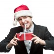 Young funny christmas business man — Stock Photo #14733555