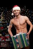 Sexy christmas man — Stock Photo