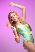 Vivid candy girl — Stock Photo