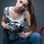 Смешные работница — Стоковое фото