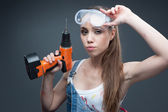 Sexy female worker — Stock Photo