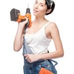 性格开朗的女性工作者举行演习 — 图库照片 #32427751
