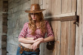 Red haired cowgirl — Stock Photo