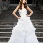 Beautiful young woman in wedding dress — Stock Photo #39817983