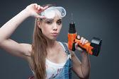 Sexy female worker — Stock Photo