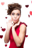 Cheerful young woman in red dress — Stock Photo