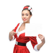 Cheerful retro girl holding sign — Stock Photo