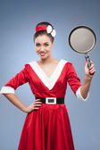 Dona de casa retro alegre — Fotografia Stock