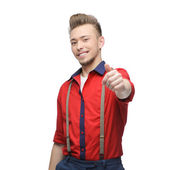 Cheerful retro man showing ok — Stock Photo