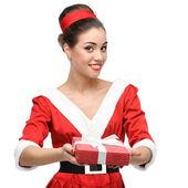 Cheerful retro girl holding red gift — Stock Photo