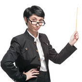 Businesswoman holding pointer — Stock Photo