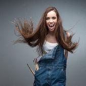 Cheerful female painter — Stock Photo