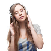 Casual music girl on white — Stock Photo
