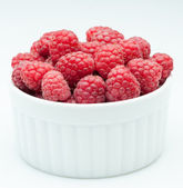 Red raspberry in bowl — Foto Stock