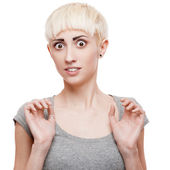 Scared casual blond girl — Stock Photo