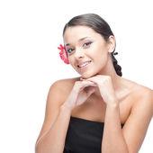 Cheerful brunette woman — Stock Photo