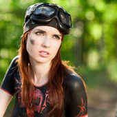 Red-haired female biker — Stock Photo