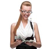 Businesswoman counting money — Stock Photo