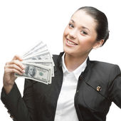 Businesswoman holding money — Stock Photo