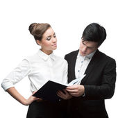 Young business people having discussion — Foto Stock