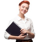 Young smiling business woman holding diary — Stock Photo
