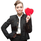 Young happy business woman on valentine's day — Stock Photo