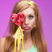 Attractive vivid candy girl — Stock Photo