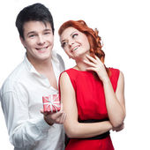 Young smiling couple on valentines day — Stock Photo