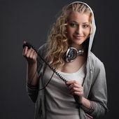 Casual music girl — Stock Photo