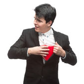 Young funny business man on valentine's day — Stock Photo