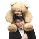 Businessman with Teddy Bear — Stock Photo