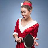 Cheerful retro housewife — Stock Photo