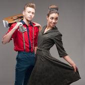 Dancing retro young couple — Stock Photo