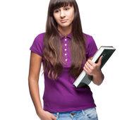Mädchen-holding-buch — Stockfoto