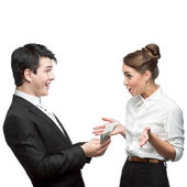 Young happy business people holding money — Stock Photo