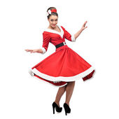 Vrolijke dansende retro meisje — Stockfoto