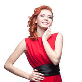 Smiling red-haired girl — Stock Photo
