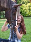 Teenage Girl With Horse — Stock Photo