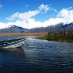 The Small Prespa Lake - Limni Mikra Prespa in Macedonia in northern Greece — Stock Photo #13744455