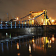 Grunwaldzki Bridge at night in Wroclaw - Stock Photo
