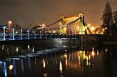 Grunwaldzki Bridge at night in Wroclaw — Stock Photo