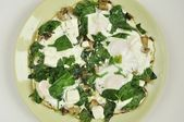 Fried eggs with spinach, feta and mushrooms — Stock Photo
