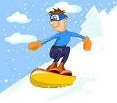 Guy on a snowboard guy snowboarding — Stockvector