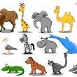 Set of vector African animals — Stock Vector