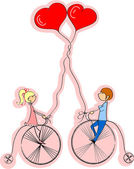 Love boy and girl ride a bicycle — Stock Vector