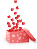 Red box with hearts — Stock Vector
