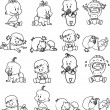 Cartoon of babies. Blask and white - Stock Vector