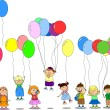 Children hold balloons, greeting card - Stock Vector