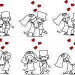 Set cartoon characters weddings — Stock Vector