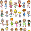 Stock Vector: Doodle members of large families